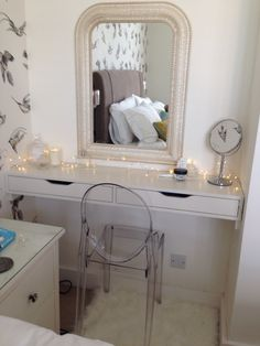 Dressing table, ikea hack, Ekby Alex, Farrow and Ball slipper satin.