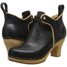 Swedish Hasbeens 18th Century Bootie Women's Lace-up Boots, Black ($168) ❤ liked on Polyvore featuring shoes, boots, black, short boots, black ankle boots, ankle boots, black platform bootie and black boots