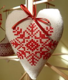 Snowflake cross stitch christmas tree heart decoration