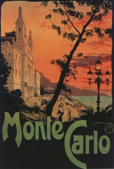 Monte Carlo Monaco Fashion People Casino Luxury Travel Vintage Poster Repro