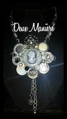 Vintage Necklace silver de botones de la firma Deux Manière. 35$