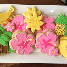 Aloha!  Hand decorated sugar cookies for a summer get together.
