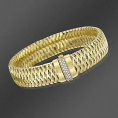 "http://www.ross-simons.com/products/475389.html Roberto Coin .18 ct. t.w. ""Primavera"" Diamond Bracelet In 18kt Yellow Gold. 7"""