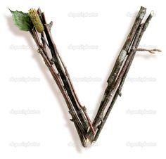 naturelle brindille et bâton lettre v - Image: 29377085