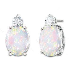 """""""Shimmering Elegance"""" Australian Opal And Diamond Earrings Opal Earrings, Diamond Pendant Necklace, Australian Opal Jewelry, Thing 1, Silver Rings Handmade, Sterling Silver Pendants, Fine Jewelry, Visible Spectrum, Bradford Exchange"""