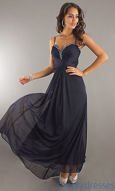 Xscape Long Navy Blue Gown at SimplyDresses.com