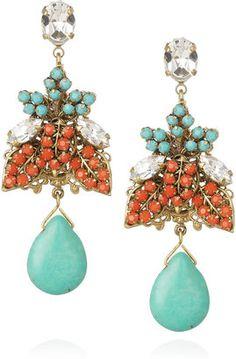 ShopStyle: SwarovskiBijoux Heart 24-karat gold-plated crystal earrings