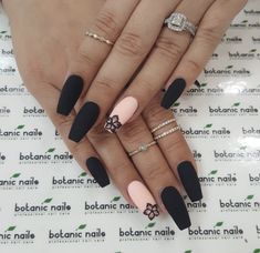 The latest and most creative designs for black nails are perfect for fall and winter . - The latest and most creative designs for black nails are perfect for fall and winter, # o - Black Nail Designs, Winter Nail Designs, Acrylic Nail Designs, Nail Art Designs, Nails Design, Black Coffin Nails, Matte Black Nails, Brown Nails, Matte Nail Art