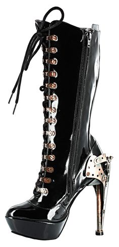 This Steampunk Patent Knee High Riveted Eyelet Lace-up Boot is to die for! - The heel is 5 inches with an 1.5 inch platform. - The heel design is Steampunk influenced with embellishments of gears, spi