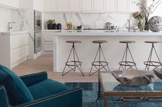 Bronze barstools.  Interior design by Green Couch, San Francisco.