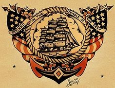 """Rocked in the cradle of the deep"" Sailor Jerry poster"