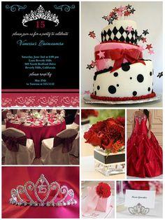 Red Glam #quinceanera theme/Tema de Glamor Rojo para tu quince