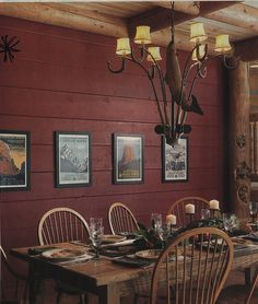 Painted interior log walls http://log-homes.thefuntimesguide.com/images/blogs/our-inspiration-log-wall-painted-red.jpg