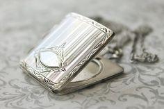 Antique Sterling Silver Square Locket Necklace, Victorian Art Deco sterling silver locket, sterling heirloom locket, room for monogram
