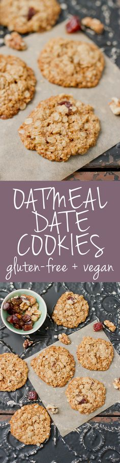 These delicious oatmeal cookies are studded with dates and have the perfect texture -- crispy edges with a a soft and chewy center! #vegan #glutenfree