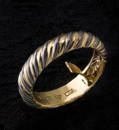 """""""Locks of hair were particularly common in memorial jewellery made in the 19th century. The hair has sometimes been thought to carry the person's characteristics. Jewellery with hair was first used in remembrance during periods of mourning. Gold ring with hair from the Swedish king Karl XIV Johan and Magnus Brahe. Made in 1845 by Carl Fredrik Hultbom, Stockholm."""" - Found via Europeana Fashion"""
