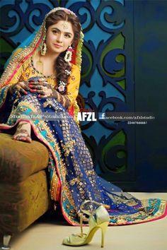 Pakistani mehndi dresses 2016- dark bluish
