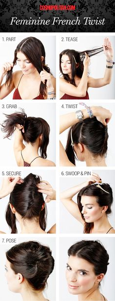 Updated french twist http://www.cosmopolitan.com/hairstyles-beauty/beauty-blog/street-style-inspired-hair-tutuorials