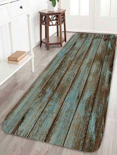 Vintage Wood Grain Print Bathroom Rug - GREEN W24 INCH * L71 INCH