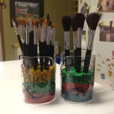 Make up brush storage. I like this but I would use a different color of sand these colors hurt my eyes.