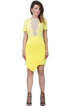 Sukienka koronkowa żółta