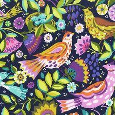 Sarah Campbell - Melodies - Folk Birds in Navy * just beautiful!