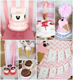 Minnie Mouse Ice Cream Party: LOVE the real ice cream cone + tulle pom garland and wooden spoons with pink rhinestone Minnie silhouette