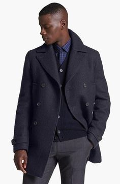 Z Zegna Double Breasted Peacoat
