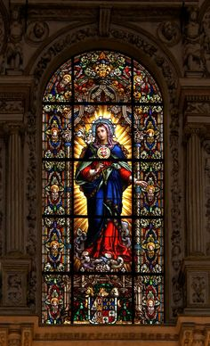 "Window in Cordoba Cathedral - from a blog about the tragedy of ""demythologising"" Our Lady: http://corjesusacratissimum.org/2009/09/the-global-tragedy-of-demythologisation/"