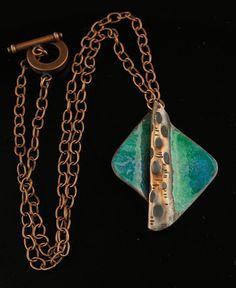 Enameled copper pendant copper blues necklace fold by driftnbleu