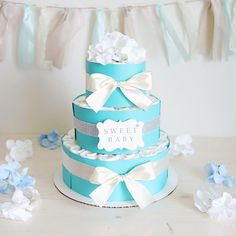 Baby Girl Mint Blue Diaper Cake / Baby Shower By AngAngBabyUS