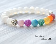 8 mm Chakra Bracelet - Yoga Jewelry - Mala Beads - Gemstone Jewelry - Energy…