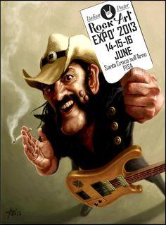 Lemmy Kilmister by arielmedel Hard Rock, Rock N Roll, Funny Caricatures, Celebrity Caricatures, Rock Posters, Band Posters, Arte Cyberpunk, Heavy Metal Art, Picture Logo