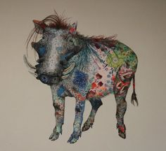 Warthog | Sophie Standing Art | Textile embroidery art from Africa