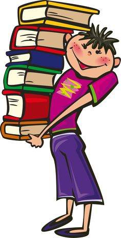 BOY AND BOOKS CLIP ART