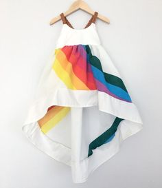 Vintage Rainbow Dress Size 3T With Light Brown Vegan Braided Leather Straps #S037