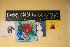 Kids artwork display.