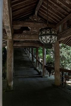 Traditional staircase at Hase-dera temple Sakurai, Nara, Japan