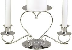 Hortense B. Hewitt Wedding Accessories, Unity Candle Stand, Triple Heart, Silver, 10.5-Inches x 5.5-Inches