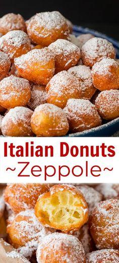 Donut Recipes, Snack Recipes, Dessert Recipes, Cooking Recipes, Snacks, Easy Zeppole Recipe, Italian Donuts, Italian Desserts, Donut Holes