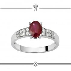 Solitaire rubis ovale et diamants sertis en pavage deux rangs sur or blanc 750/1000 - Gold 18 carat