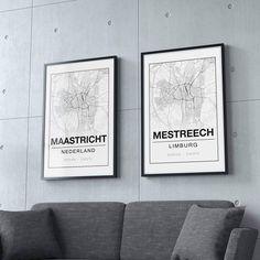 Kom je uit Maastricht of Mestreech? Dan kan zo'n leuke stadsposter niet ontbreken in je interieur! #woonplaatsposter