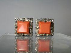 Vintage Cuff Links Suit Accessory Fine 800 Silver Setting Bright Deep Orange Glass Ornate Cufflinks Gift Quality DanPickedMinerals