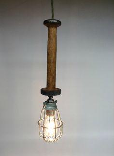Vintage Spool Trouble Light Cage Pendant by ModernArtifactDecor
