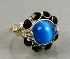Wire Wrapped Ring- Sterling Silver with Electric Blue Cats Eye Glass Bead- Any Size- Size 4, 5, 6, 7, 8, 9, 10, 11, 12, 13, 14
