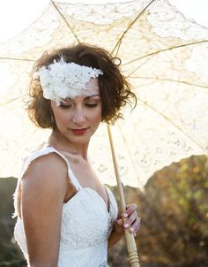 Sandra Bridal Headpiece by Olivia Nelson; couture wedding headpiece