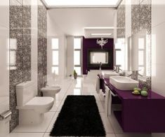 Modern and Unique Bathroom Designs with Vibrant Colors : Modern Bathroom Design With Walls Graphic Print And Purple Color Accents Luxury Master Bathrooms, Modern Bathrooms Interior, Purple Bathrooms, Bathroom Colors, White Bathroom, Small Bathroom, Colorful Bathroom, Lavender Bathroom, Minimalist Bathroom Design