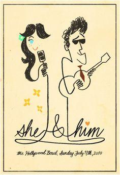 poster/she&him;/nick wragg art