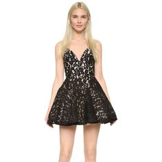 Alex Perry Leisa Mini Dress (1,710 CAD) ❤ liked on Polyvore featuring women's fashion, dresses, black, black v neck dress, black cocktail dresses, lace dress, black dress and open back cocktail dress