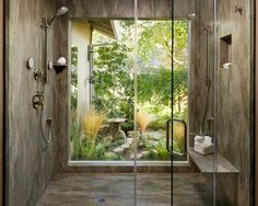 A narrow stretch of yard on the side of a house could be planted with bamboo for privacy, and opened up to the bath with a wall of glass.  For more flexible privacy, consider adding sliding shoji screens.